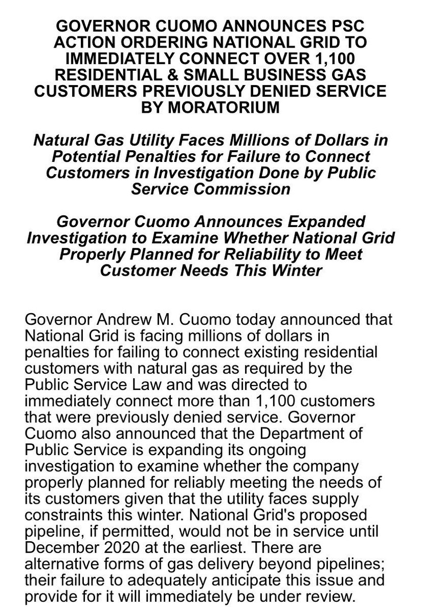.@NYGovCuomo stands up to @nationalgridus mendacity by ordering a stop to NG's self imposed & disingenuous gas moratorium.       Now the @NYSDPS & @TishJames must investigate if NG violated their charter w/ NY & lied to their customers. #StopTheWilliamsPipeline #PublicPower https://t.co/QbTmXsFON6