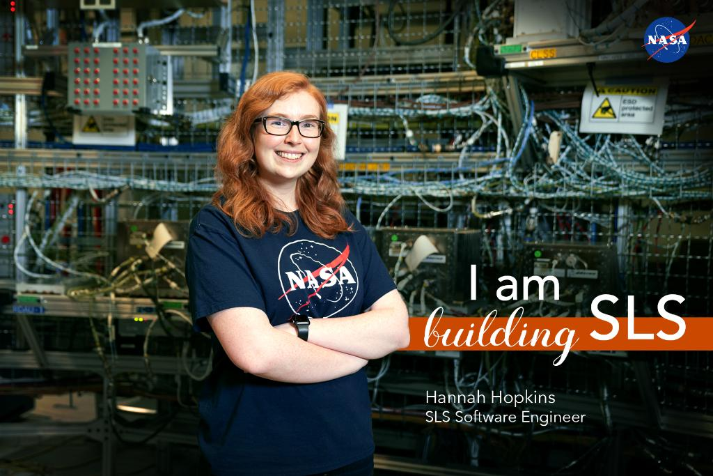 SLS software engineer Hannah Hopkins says, One day, I will watch my first rocket launch with a smile on my face knowing I helped it get there. Learn more about Hannahs work for @NASAs #Artemis lunar missions HERE >> go.nasa.gov/2z032fO #DayoftheGirl