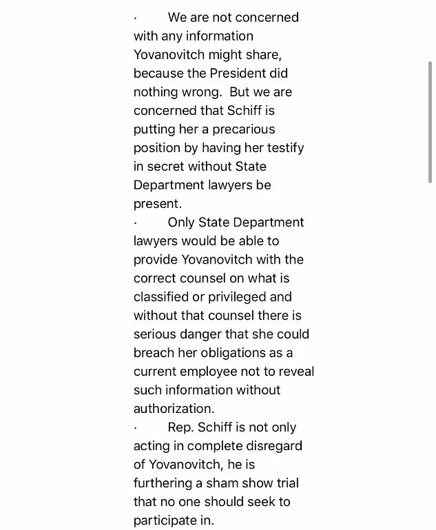 This appears to be the second time the White House has sent impeachment talking points to House Democrats - this time on Yovanovitch:
