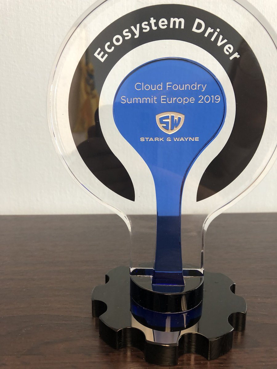About a month ago, the Stark & Wayne team accepted the Ecosystem Driver award at #CFSummit and today it was delivered. Thank you to the @cloudfoundry community for the award! We  nice things.<br>http://pic.twitter.com/rs0z7u17wO