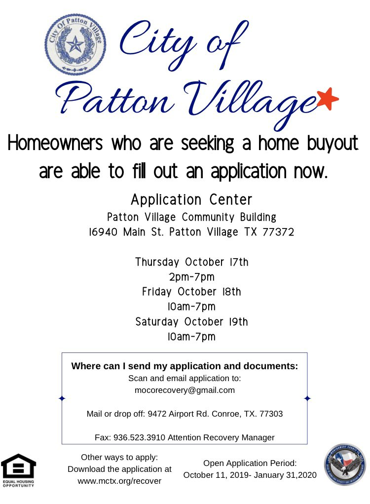 ATTN #TEXAS: For homeowners in Montgomery County impacted by the severe flooding caused by #Imelda, the City of Patton Village has begun accepting applications for home buyouts. For more information ⤵️