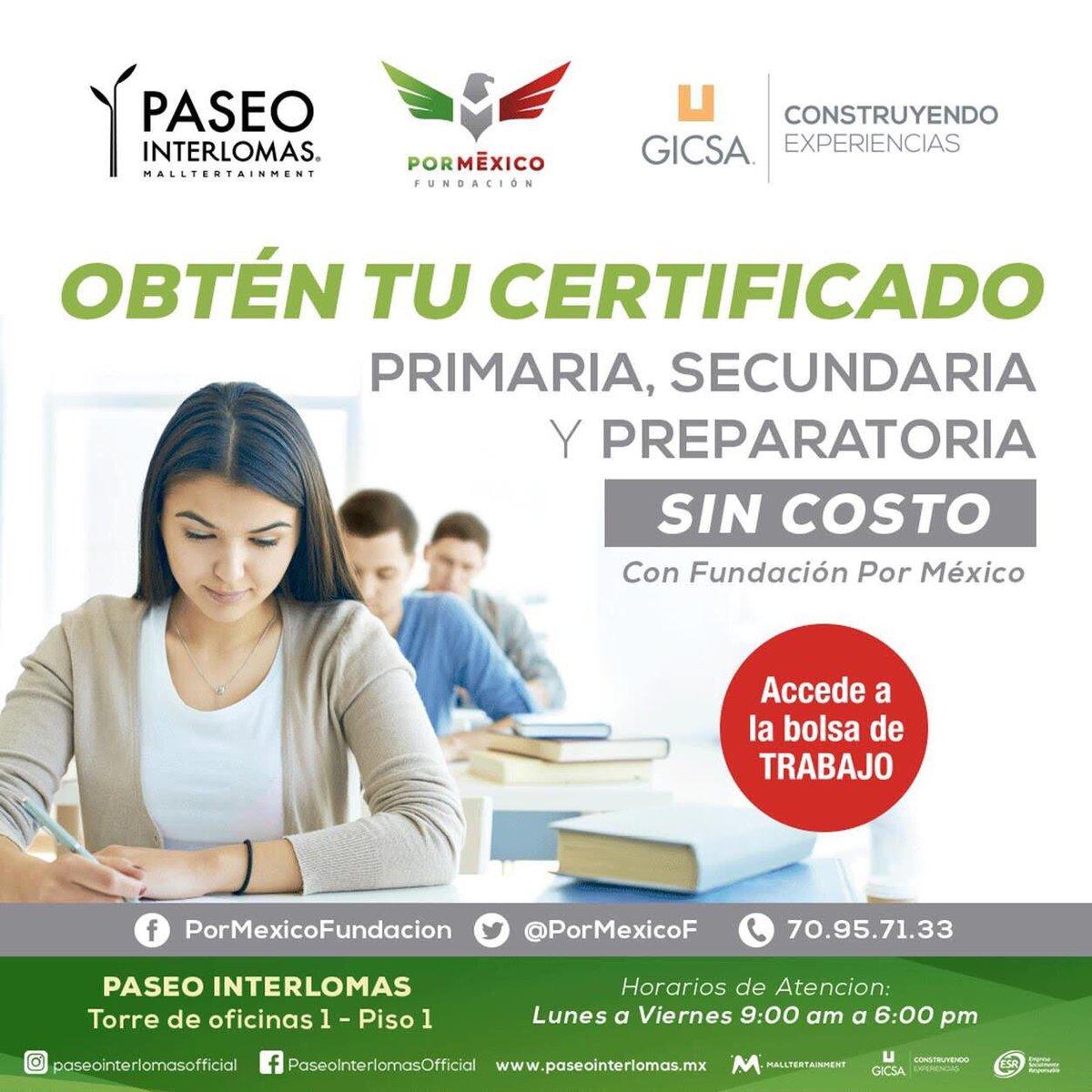 Acércate a #FundaciónPorMéxico, en donde a través de nuestro sistema educativo No Tradicional podrás obtener tu Certificado de #EducaciónBásica y Media Superior.   ¡Busca nuestra #AulaPorMéxico® en el interior de @paseointer!