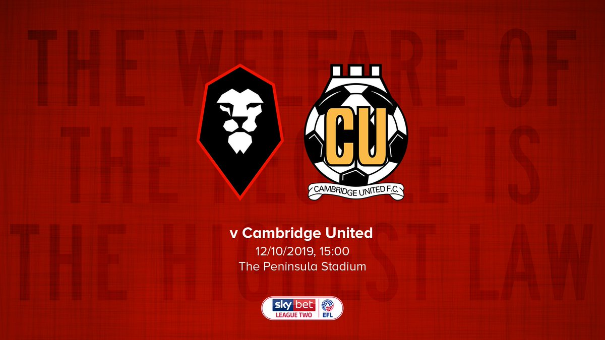 M A T C H D A Y ⚽️  We're back at The Peninsula Stadium this afternoon when @CambridgeUtdFC are the visitors!  🕒 KO 15:00 🏆 @SkyBetLeagueTwo  💷 Adults £10, Concessions £5 🎫 https://t.co/ARgnEIlawG  #WeAreSalford 🦁🔴 https://t.co/0gpW5o83Cf