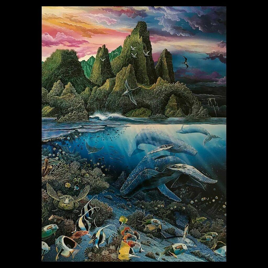"AGILE SEA PHANTOM"" by Robert Lyn Nelson #art 1989 #acrylicpainting #contemporarypainter #soldart #robertlynnelson #endangeredspecies #savethewhales #whales #oceanfuturessociety #islandlife #hawaiilove #exploremaui #diver #beaches #creativeprocess #master_gallery #masterpaint…"
