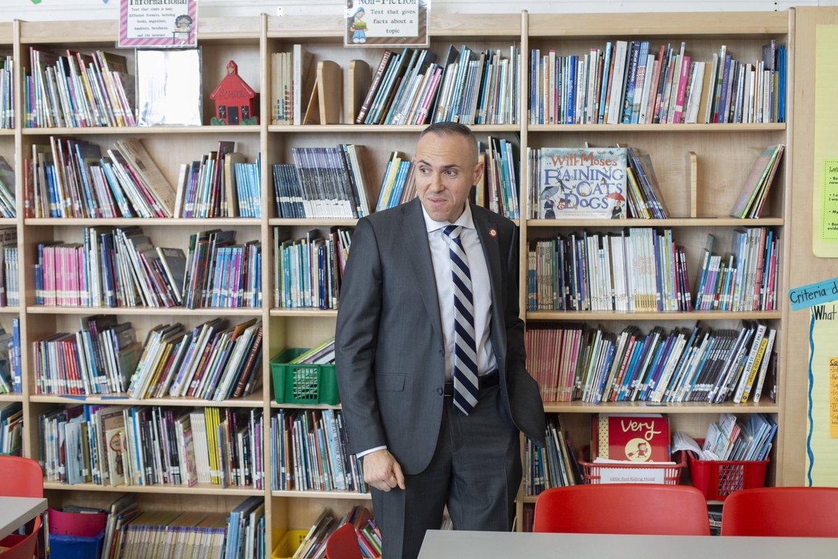 Council Member @MarkTreyger718 cuts ribbon on new library at P.S. 212 in his district.