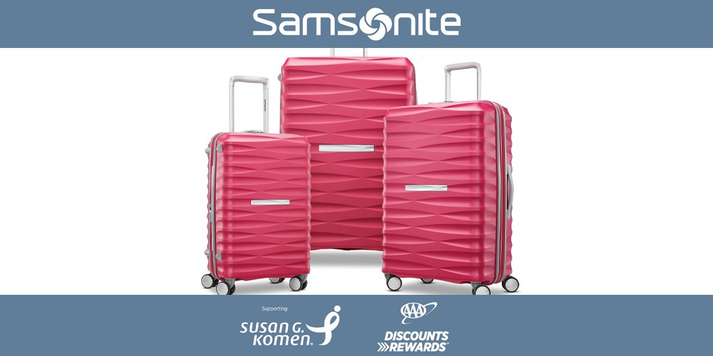 Use your #AAADiscounts to save 20% on luggage for a cause @SamsoniteUSA.  Samsonite is proud to support Susan G Komen in the prevention and fight against breast cancer and will donate $50,000 in 2018-2019 regardless of sales.