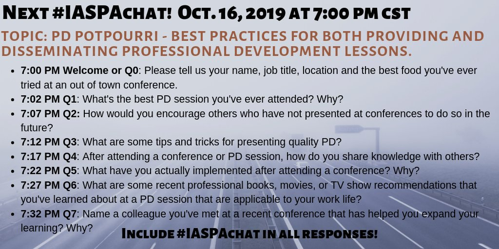 Please join us this Wednesday night #IASPAchat #k12talentchat #iledchat #edfinchat #suptchat @ilprincipals #k12prchat @AASAHQ