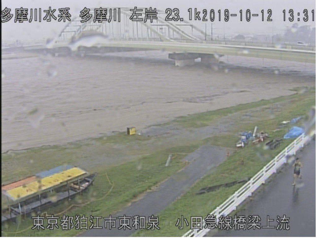 多摩川氾濫しそうなのにランナーいる