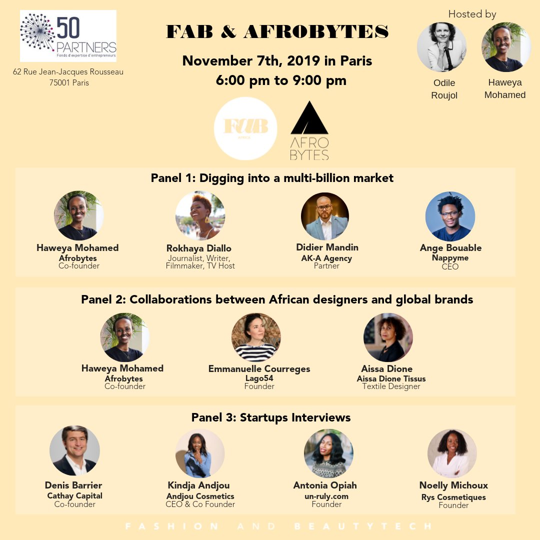 Paris Nov 7 join the movement #FaB #africanentrepreneurs #AfricanInfluencers #africanfashion #africanbeauty  https://www. eventbrite.com/e/afrobytes-fa b-fashion-and-beautytech-1st-meeting-in-paris-on-nov-7-2019-tickets-74030030815  … <br>http://pic.twitter.com/DIHAIOD4Hq
