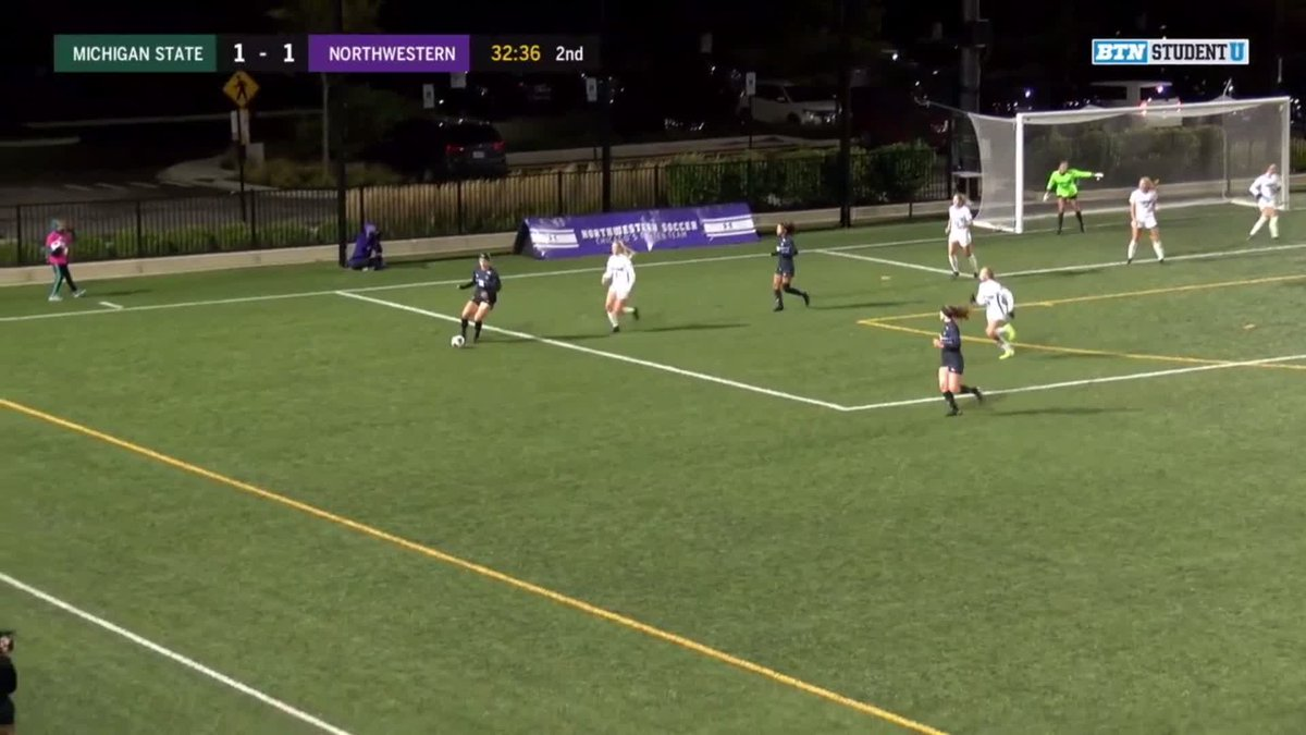 The cross. The header. Poetry in motion from @NUWSoccer. #B1GCats x #GoCats