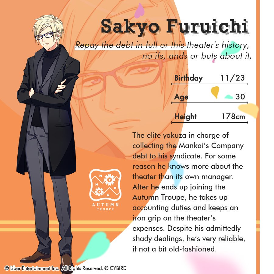 Last is Sakyo, the bespectacled yakuza with a heart of gold and the Mankai Company disciplinarian you definitely DONT want to cross! #a3game