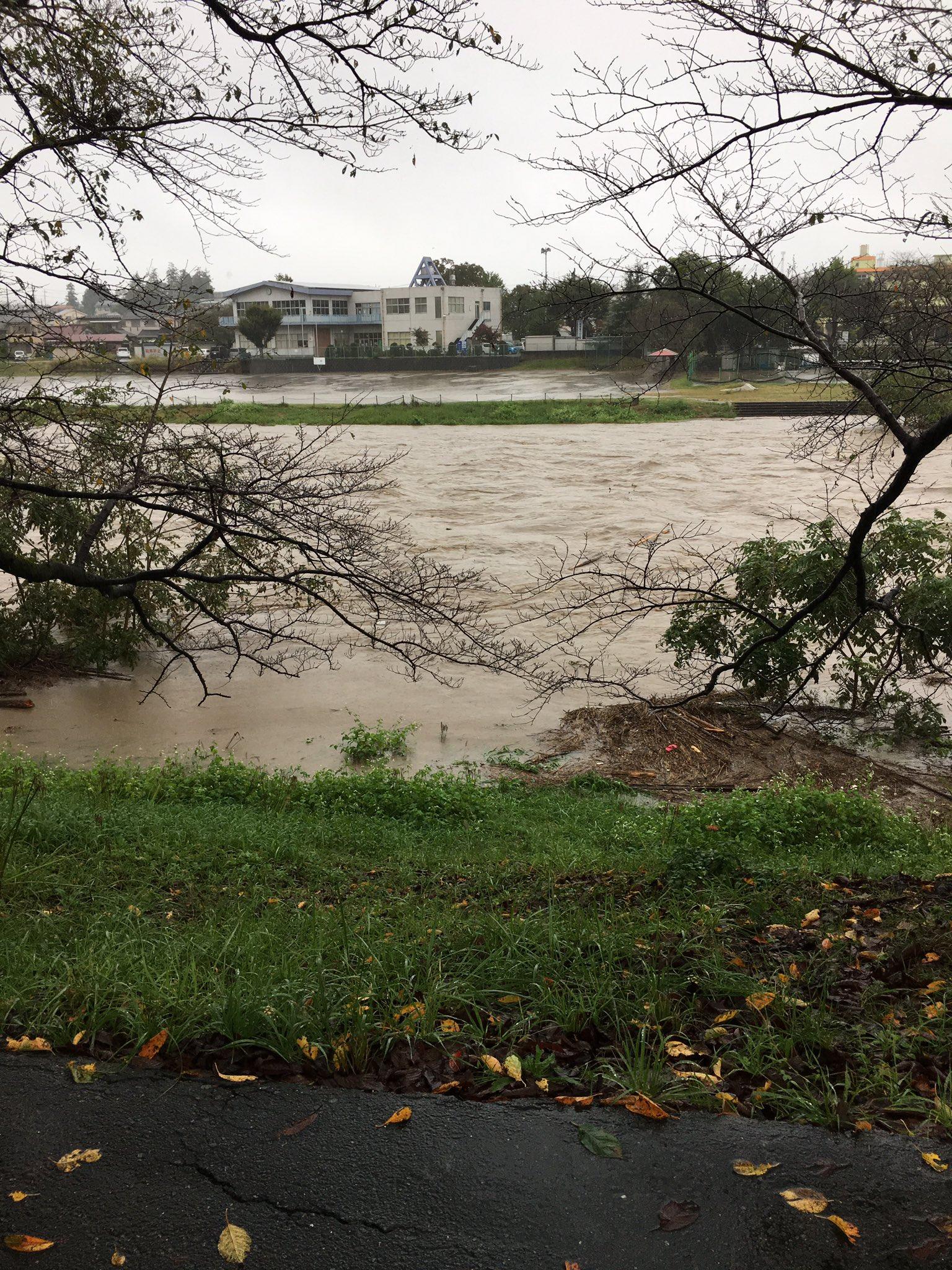 入間川が大雨で増水している現場の画像