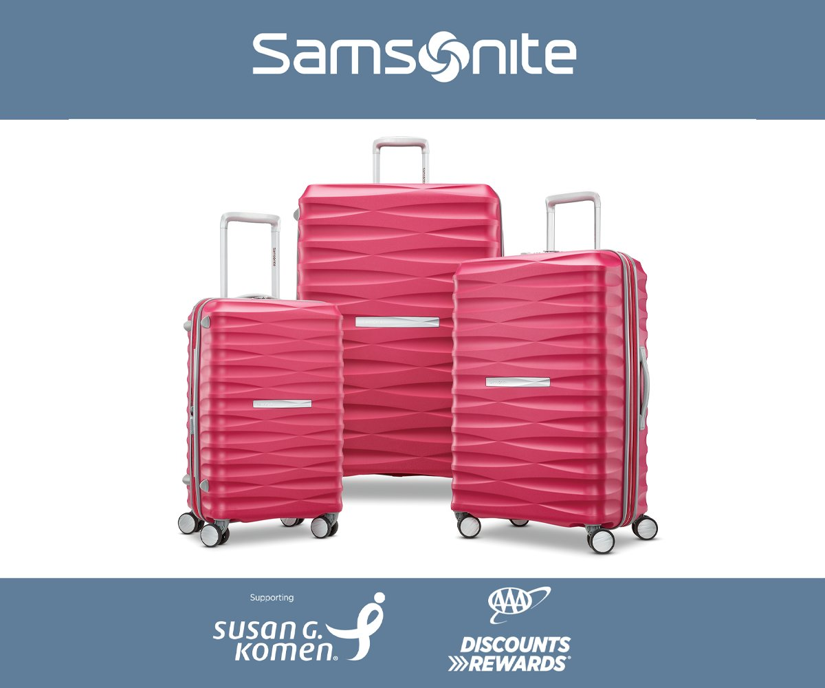 Use your #AAADiscounts to save 20% on luggage for a cause at Samsonite.    Samsonite is proud to support Susan G Komen in the prevention and fight against breast cancer and will donate $50,000 in 2018-2019 regardless of sales.