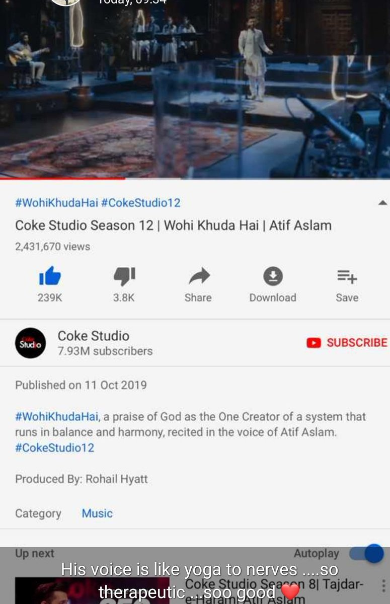 Soulful, Pure & Classic! Thats what I hv in th name of this beautiful Hamd. Plus Atif Aslam Voice made it more Mesmerizing😍 Coke Studio has begun with this beautiful rendition of all Times. #CokeStudio12 @cokestudio @itsaadee @rohailhyatt #Music #HumAikHen