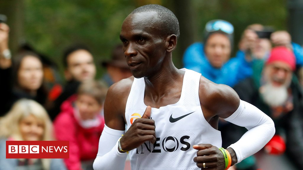 Kenyan Eliud Kipchoge becomes the first athlete to run a marathon in under two hours, completing the 26.2 miles in 1:59:40 bbc.in/315mRh7