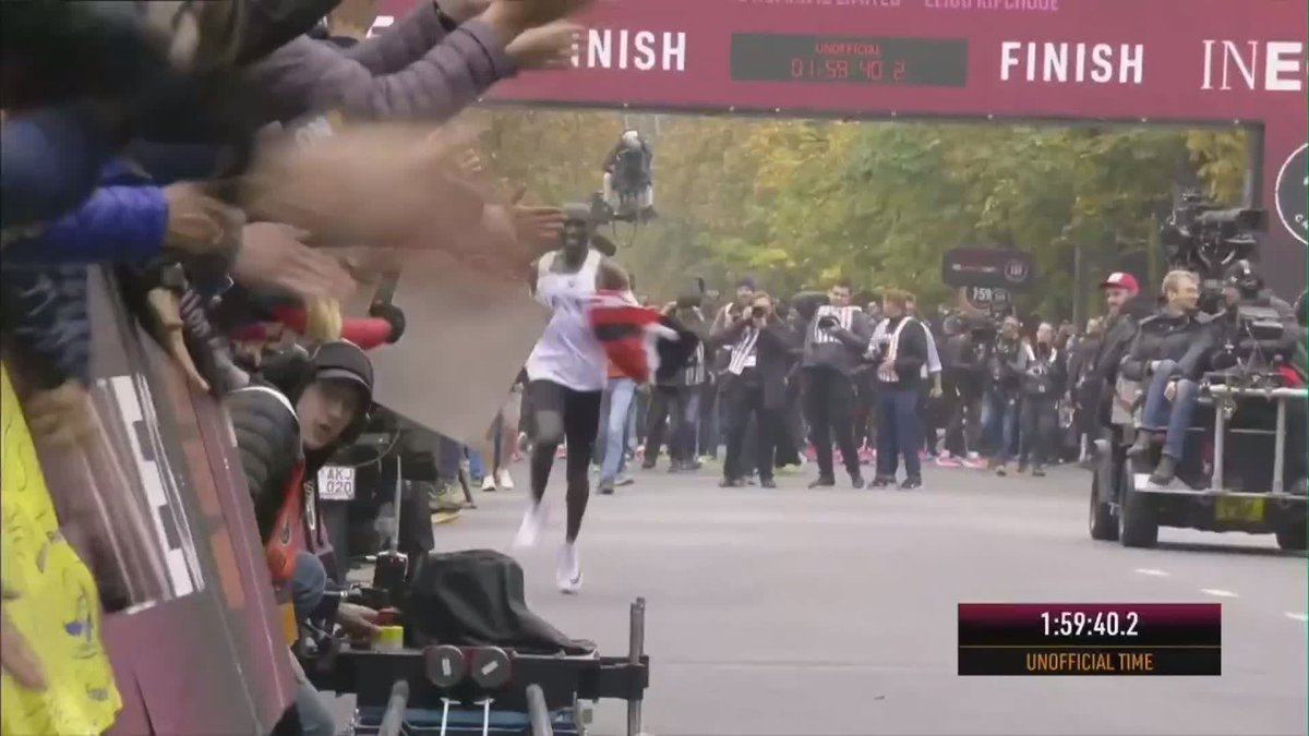 1:59:40. Eliud Kipchoge is the first person to run a marathon in UNDER TWO HOURS 👏 (via @olympicchannel)