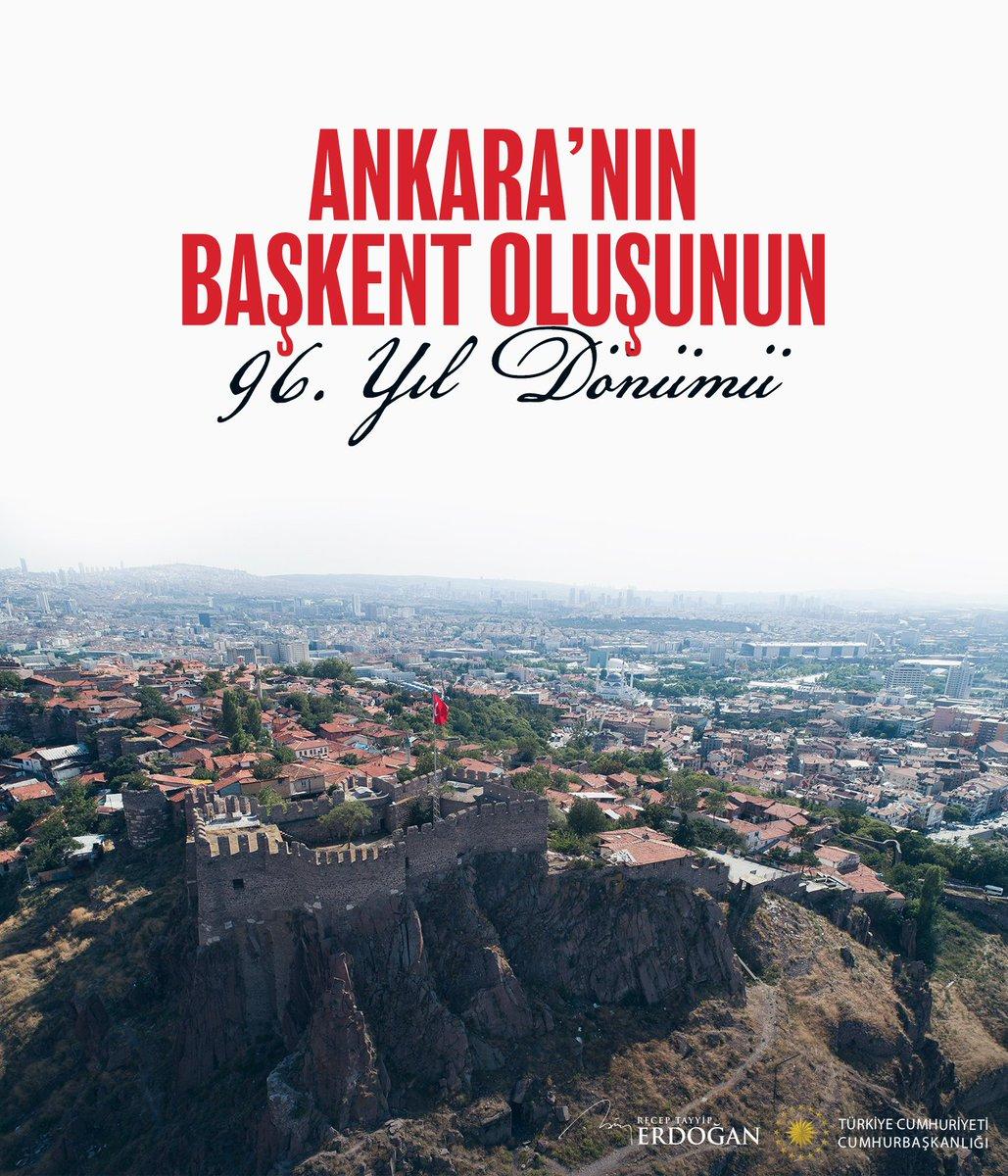 Türkiye Cumhuriyeti Cumhurbaşkanlığı olarak İstiklal mücadelemizin karargahı, Cumhuriyetimizin ve demokrasimizin beşiği Ankara'nın başkent oluşunun yıl dönümünü kutluyoruz. tccb.gov.tr/basin-aciklama…