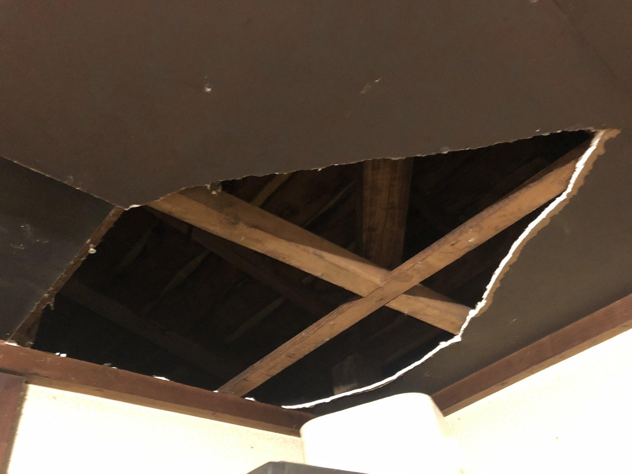 台風の影響か屋根裏にあったと思われる変な物体が天井を突き破って降ってきた
