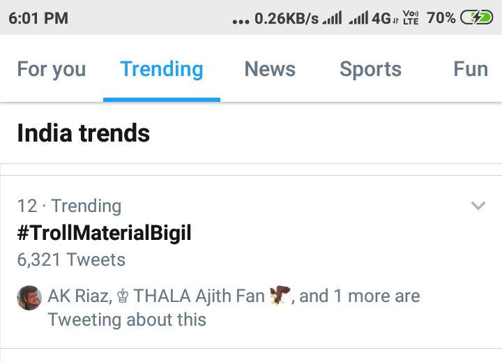 Within 5 minutes tag started trending on National wide  #TrollMaterialBigil<br>http://pic.twitter.com/M3m0zV5j5B