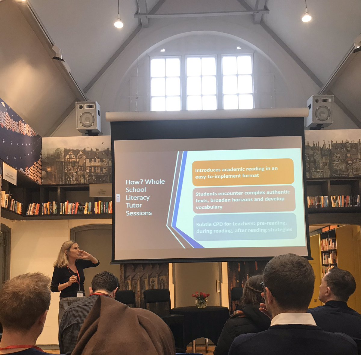 The amazing @AVisserFuray talking about her journey developing academic reading across the curriculum #newvoices19