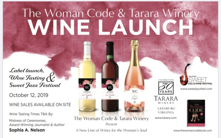 """Really excited about the launch of my new """"Wine for women"""" line inspired by #Thewomancode @TheWomanCodeKey TODAY on our 5th year anniversary in print! Exclusively @TararaWinery @SweetJazzFest 12:30-8:30pm come out, taste and buy a bottle or three for the autumn season!<br>http://pic.twitter.com/JPokk7Nk2S"""