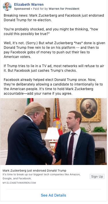 Warren for President Facebook Ad