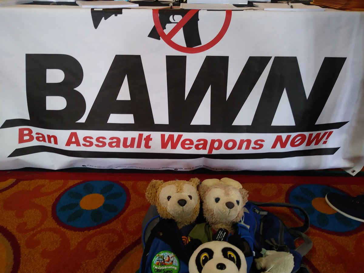 #DuffytheDisneyBear, #ShellieMaytheDisneyBear, and #HashtagThePanda believe that everyday citizens should live without fear of a psycho owning an assault rifle which he shouldn't even have access to in the first place to shooting up a place. This is why we support #BAWN