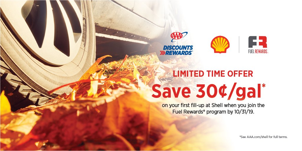 Use your #AAADiscounts to save 30¢/gal on your first fill-up @Shell when you join the @FuelRewards program between 9/1/19 – 10/31/19 at .
