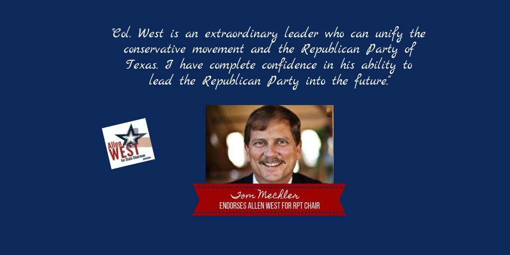 I cannot express how much this endorsement from former @TexasGOP Chair @tommechler means to me! Thank you, Tom! To read the full text of Toms endorsement: west4texas.com/endorsement/co… I would be honored to have you add your own endorsement: west4texas.com/endorsements/e…