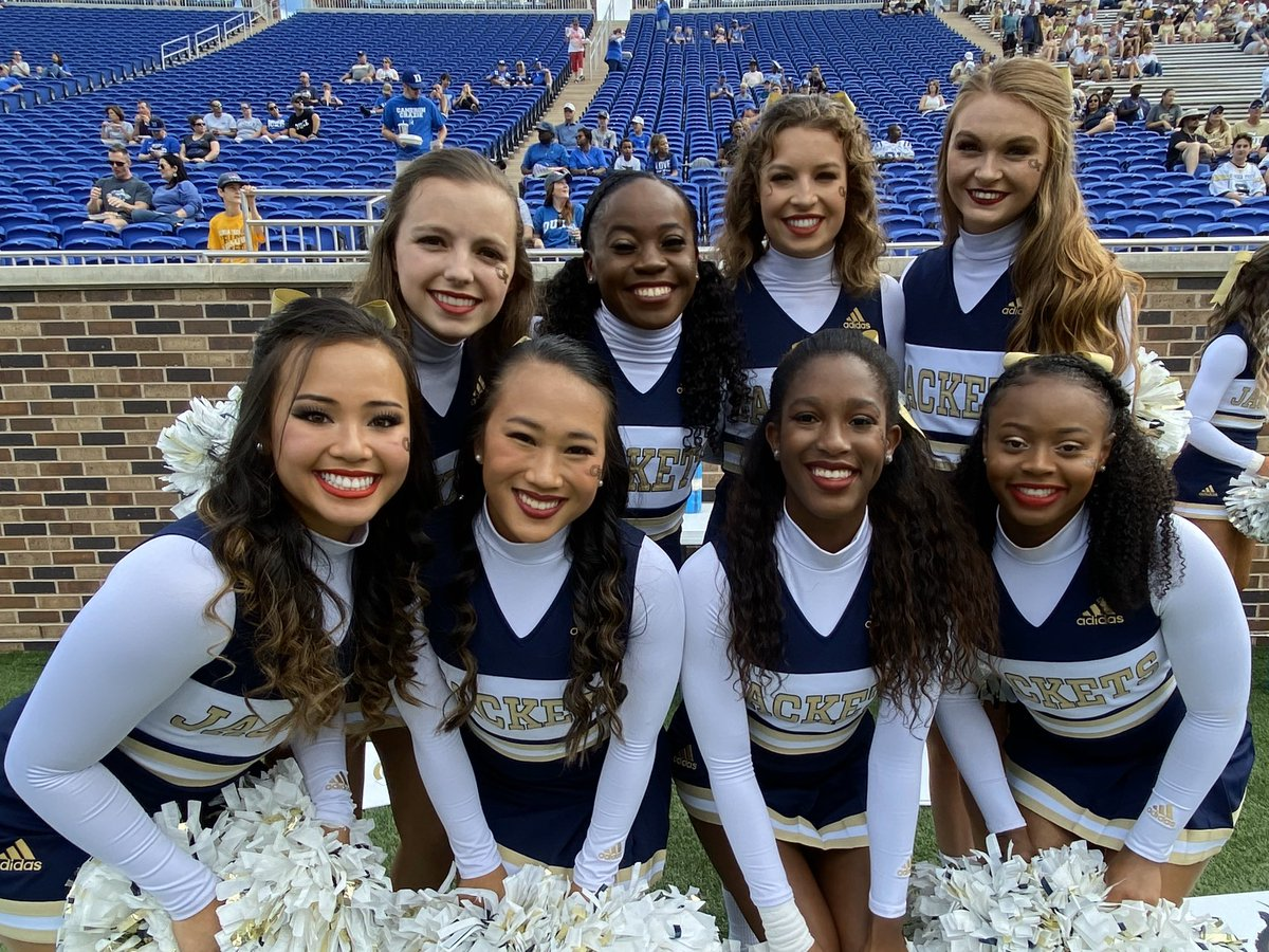 Great having @GTCheerleading here in Durham to cheer on the Jackets! #TogetherWeSwarm