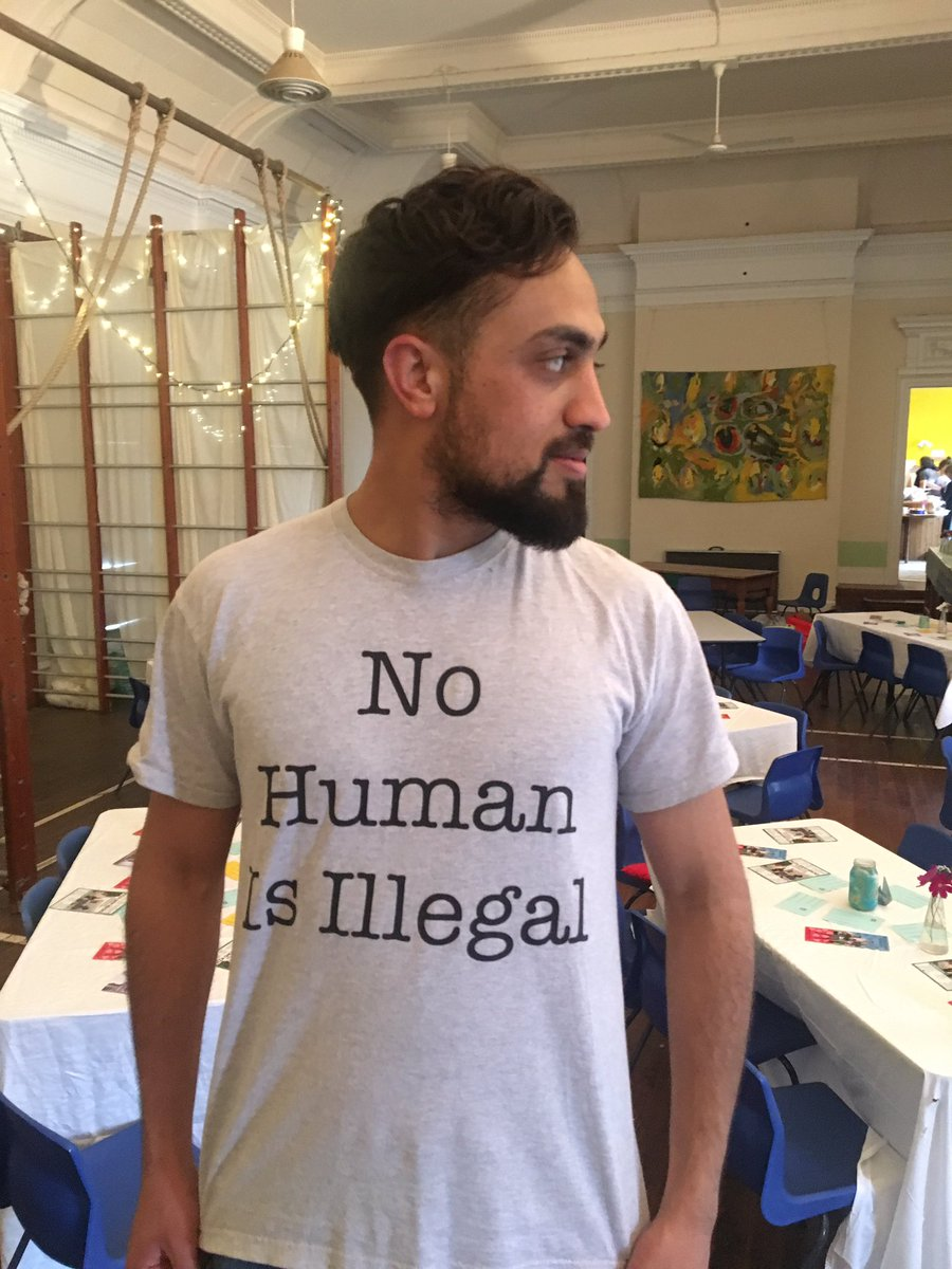 Syed is on brand for our performance with @stories_supper tonight. #nohumanisillegal