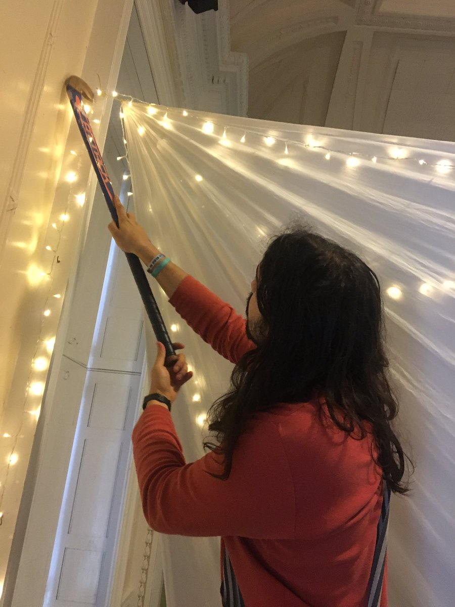 Behind the scenes at Phosphoros HQ - putting up fairy lights with a hockey stick 😎😎😎 we're all about the ambience