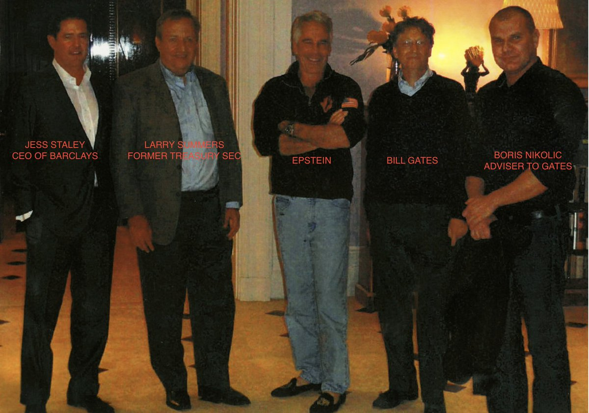 @BillGates @nytimes @FlitterOnFraud @JamesStewartNYT @gatesfoundation The @nytimes interviewed well over a dozen sources with knowledge of the relationship, and reviewed documents detailing their numerous meetings. Here we have Epstein in his mansion with Gates, a Gates adviser, Larry Summers and the CEO of @Barclays in 2011.