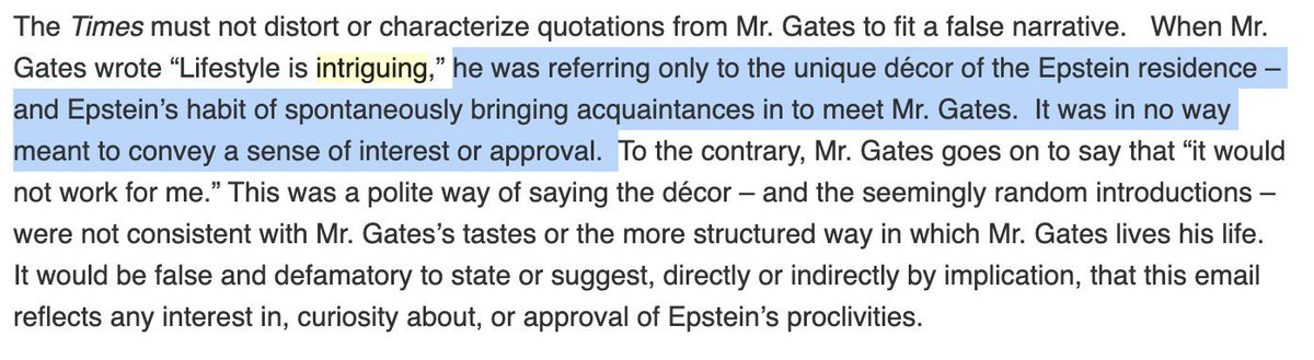 @BillGates @nytimes @FlitterOnFraud @JamesStewartNYT @gatesfoundation After one late-night meeting with Epstein, @BillGates emailed colleagues: His lifestyle is very different and kind of intriguing although it would not work for me. Heres his spokeswomans explanation of what he meant.
