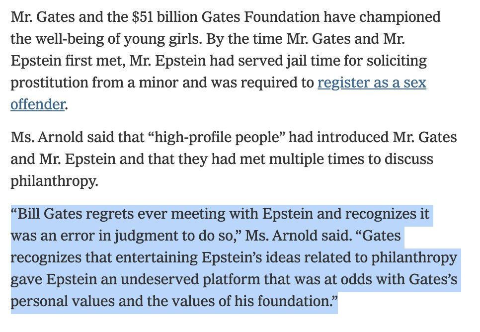 @BillGates @nytimes @FlitterOnFraud @JamesStewartNYT @gatesfoundation @Barclays A spokeswoman for Gates refused to tell us how many times he met with Epstein -- so presumably it is more than the number we have documented in the article. She also offered what I think is an apology on Gates's behalf.