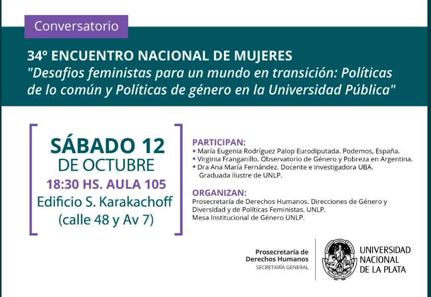 Ni la lluvia nos para. Conversatorio en el #encuentronacionaldemujeres @LauraGomez_H @VFranganillo @MEugeniaRPalop 18.30 hs. Nos vemos ahí!