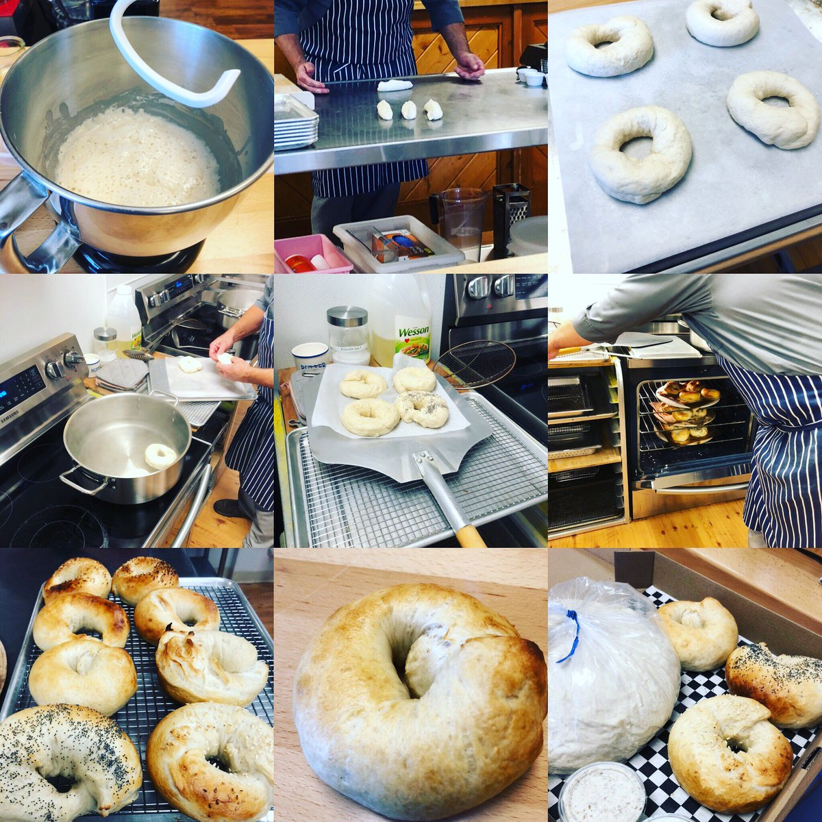 Bagel class today at @theavlkitchen was doughlicious! Came home with dough to make 8 more - which I can't wait to share. Highly recommend classes at this school - laid back and full of great tips. I'm (bread) hooked! #bagels #bagelboss #cookingskills<br>http://pic.twitter.com/UBVIFKvGVU