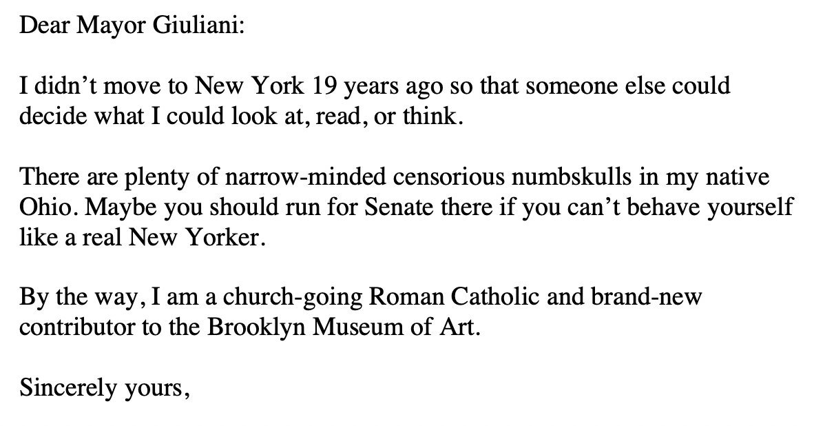 In 1999, Rudy Giuliani went to war with the @brooklynmuseum over their exhibiting Chis Ifills Holy Virgin Mary, saying There's nothing in the First Amendment that supports horrible and disgusting projects. I recently found the letter I wrote him. I regret the part about Ohio