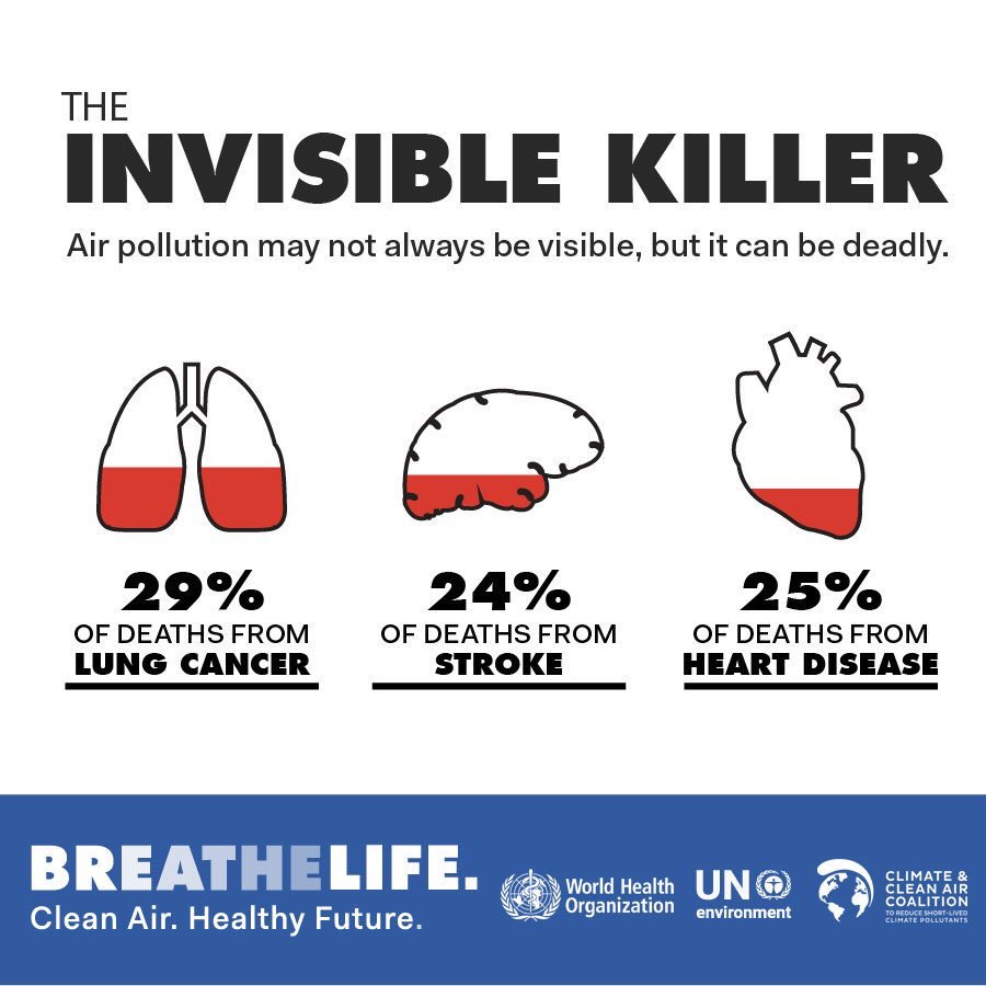 DYK: 1/3 of deaths from: -Stroke -Lung cancer -Heart disease are due to #AirPollution. This is an equivalent effect to that of smoking 🚬, & much higher than the effects of eating too much 🧂. Health effects of air pollution are serious: bit.ly/2q9Zcfj