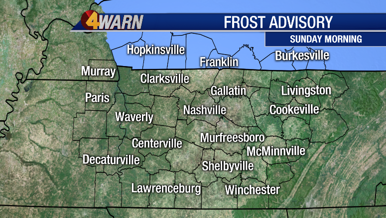 Frost ADVISORY posted for a portion of the News4 viewing area. @WSMV