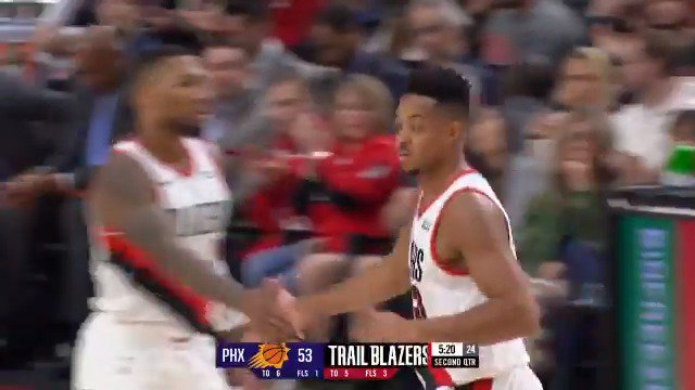 CJ McCollum knocks another triple down and hes up to 18 PTS on 7-for-10 shooting! #NBAPreseason @trailblazers / @Suns on @NBATV.