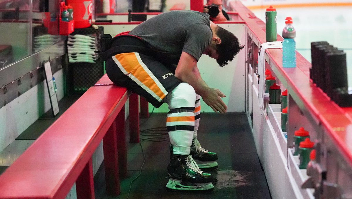 Here's a photo of Blandisi praying before tonight's game.   The hockey gods are smiling on him and the Penguins tonight as he increases Pittsburgh's lead to 5-1. <br>http://pic.twitter.com/p3Y1TMEjL8