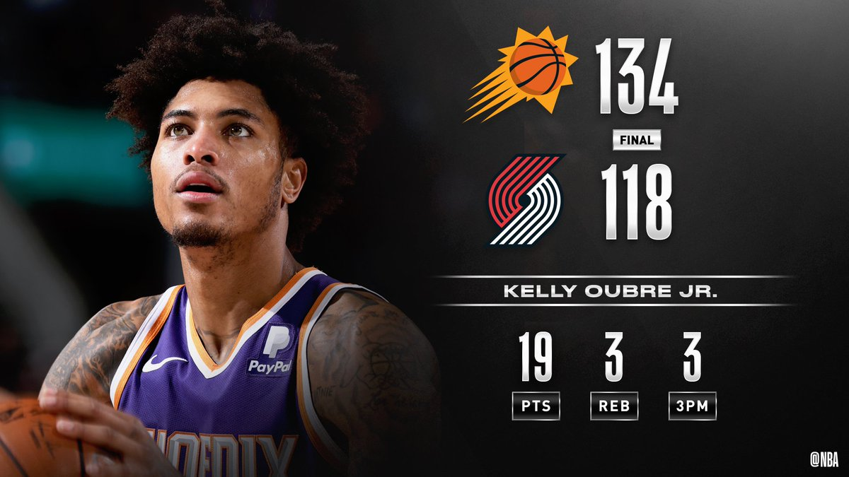 Kelly Oubre Jr. drops a team-high 19 PTS as the @Suns hit 24 3-pointers in the win at Portland! Cameron Johnson: 18 PTS, 4 3PM Tyler Johnson: 18 PTS, 4 3PM CJ McCollum: 27 PTS 4 3PM Damian Lillard: 18 PTS