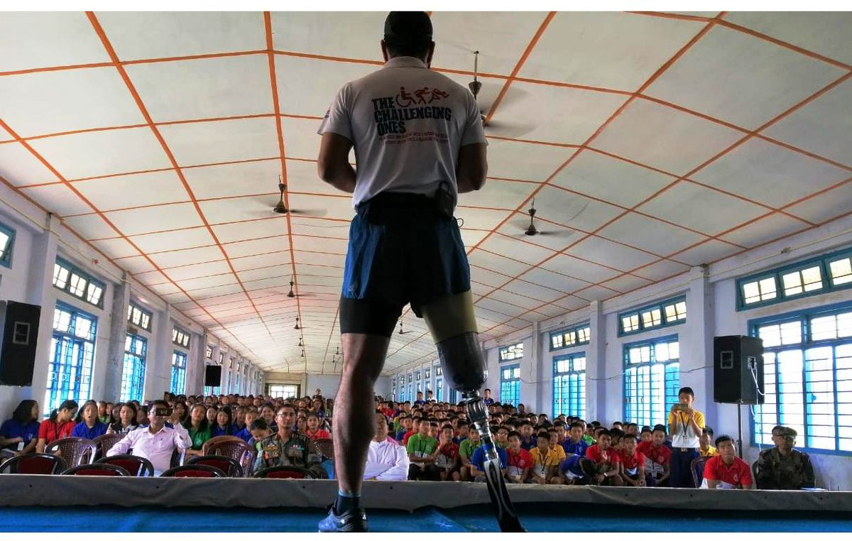 """A Battalion of #AssamRifles in Singhat, Manipur organised a Motivation Lecture by Maj(Retd) DP Singh , a Kargil veteran, famously known as the """"Blade Runner"""" at Don Bosco School, Churachandpur which was attended by  the students of  from various schools of the town. @adgpi"""