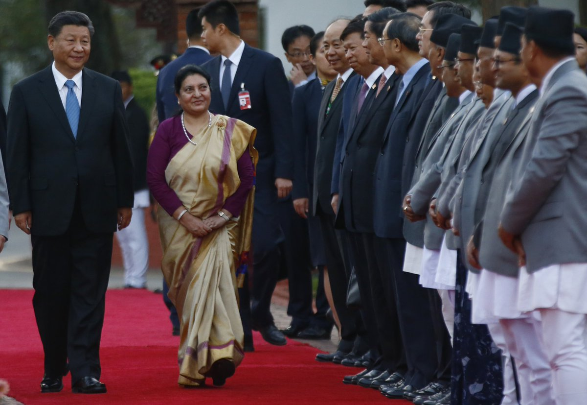 President of the People's Republic of China, Xi Jinping, receives a guard of honor upon his arrival at Tribhuvan International Airport, on his state visit in Kathmandu, Nepal on Saturday, October 12, 2019.