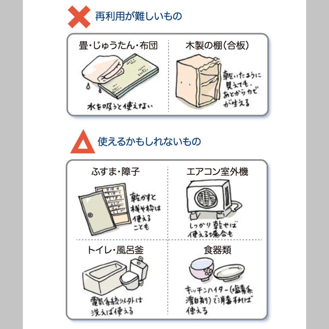 【水害被害にあったらまずやること】片付ける際に、使えるもの・使えないもの・迷うものは… #台風19号