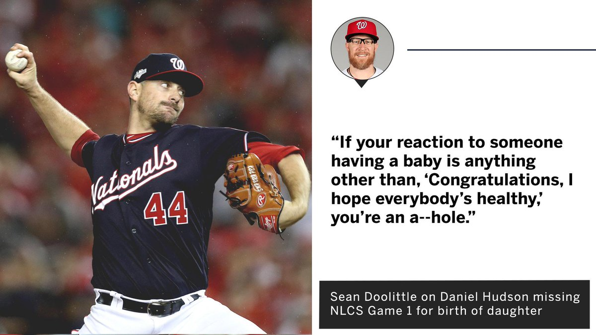 Sean Doolittle had a message for anyone criticizing his teammate Daniel Hudson for missing Game 1 of the #NLCS for the birth of his daughter.