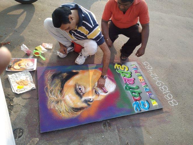Happy birthday Amitabh Bachchan ji rangoli made by me