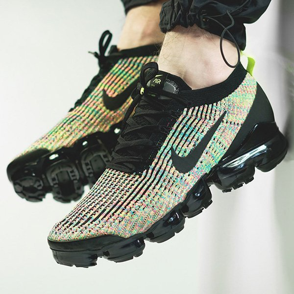 The black/multicolor Nike Air VaporMax Flyknit 3 is on sale in good sizes for over 30% OFF retail at $129.99 + FREE shipping! #promotion BUY HERE -> bit.ly/2MarDpp
