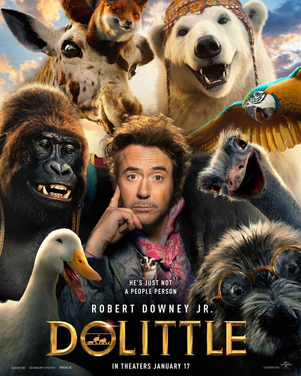 The man who could talk to animals... Robert Downey Jr... First look poster of #Dolittle... 17 Jan 2020 release.